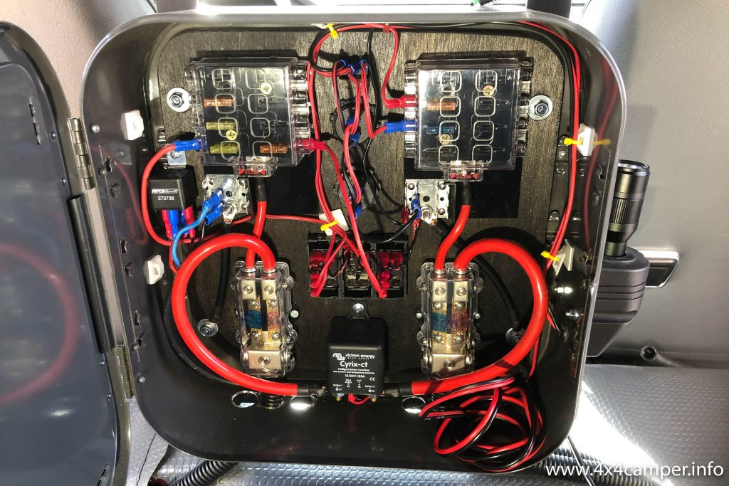 Front fuse box with Victron Cyrix ct combiner relais