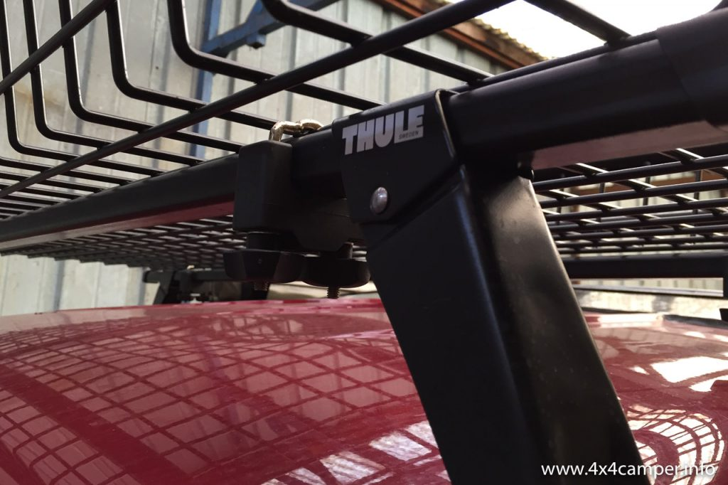 Roof rack is mounted on a Thule 952